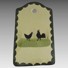 Zeller Keramik Cock & Hen Rooster Chickens Cheese Board