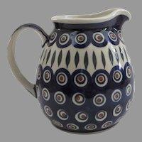 Vintage Polish Pottery Pitcher Wiza Boleslawiec, Poland (A)