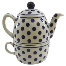 Vintage Charming Polka Dot Individual Teapot and Cup Boleslawiec, Poland Blue and White