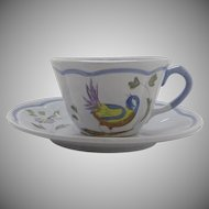"Vintage Longchamp France ""Perouges"" Cup & Saucer Bird Faience"