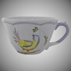 "Vintage Longchamp France ""Perouges"" Cup Bird Faience"