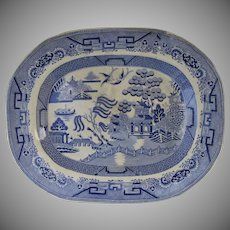 Mid 19th Century English Blue and White Blue Willow Platter