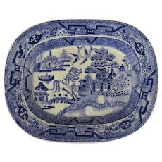 19th Century Blue Willow Small Platter Transfer Ware