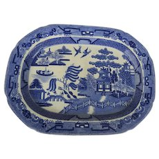 19th Century Blue Willow Platter Transfer Ware