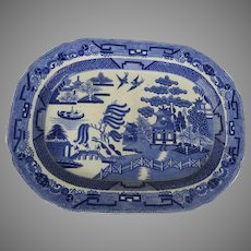 19th Century Blue Willow Platter Transfer Ware