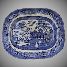 Large Blue Willow Transfer Ware Platter Made in Scotland Early 20th Century