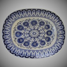 Very Large Blue and White Platter Gravy Reserve by Brownfield Cyprus Pattern