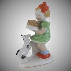 Vintage Occupied Japan Figurine of Little Girl Dog and Cake