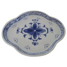 Vintage Blue and White Shaped Porcelain Tray Dish