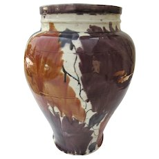 Vintage Drip-ware Vase Purple and Orange Floral Motif Mexican Majolica from Oaxaca