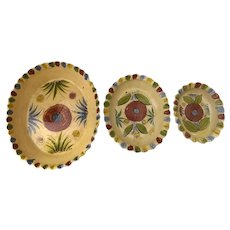 Set of Three Vintage Nesting Tlaquepaque Mexican Pottery Oval Bowls