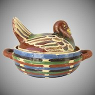 Large Vintage Tlaquepaque Mexican Folk Art Turkey Hand Painted Stoneware Terra Cotta Pottery Covered Casserole Dish Mexico