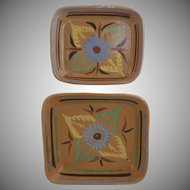 Pair of Vintage Mexican Nesting Bowls with Flower Motif