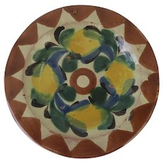 Vintage Mexican Pottery Glazed Colorful Butter Plate