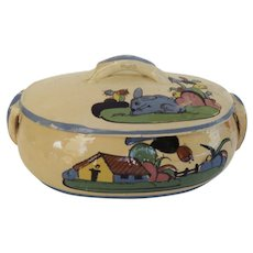 Vintage Oval Small Mexican Pottery Casserole Rabbit Cactus