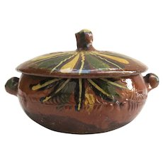 Vintage Pottery Casserole & Lid Hand-Painted Embossed Mexico Small