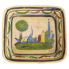 Vintage Mexican Pottery Small Casserole with Rabbit Cactus