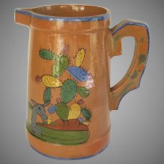 Large Vintage Mexican Pottery Pitcher Cactus Burro Man in Sombreo