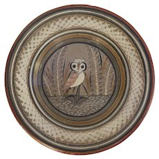 "Vintage TONALA Mexican Pottery 10"" CHARGER Plate with Owl Bird"