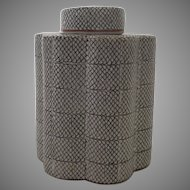 Vintage Tea Caddy Chinese Sharkskin Fish Skin Pattern