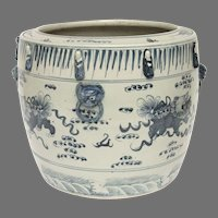 Large Late Ming Chinese Blue White Fish Bowl Jardiniere
