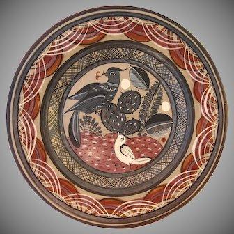 "Vintage Mexican Folk Art Tonala Petattillo Mexico Pottery Charger 12"" Plate"
