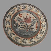 """Vintage Mexican Folk Art Tonala Petattillo Mexico Pottery Charger 12"""" Plate Bird Cactus Motif"""
