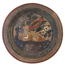 """Vintage Signed Mexican Folk Art Tonala Petattillo  Mexico Pottery Charger 13"""" Plate Wall Hanging Signed Pablo Jimom"""