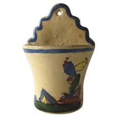 Vintage Mexican Pottery Wall Pocket Planter Mexico Withe Glaze