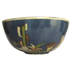 """Large Mexican Pottery Blue Glazed Bowl 9"""""""