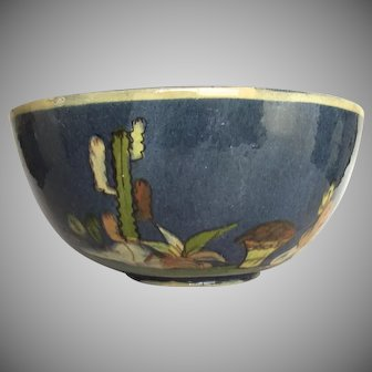 Large Mexican Pottery Blue Glazed Bowl 9""