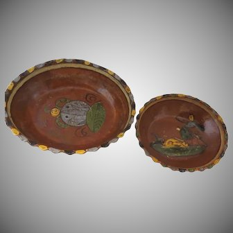 Set of Two Oval Vintage Mexican Bowls