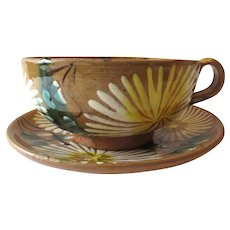 Vintage Mexican Oaxaca Pottery Cup and Saucer With Margarita Flower