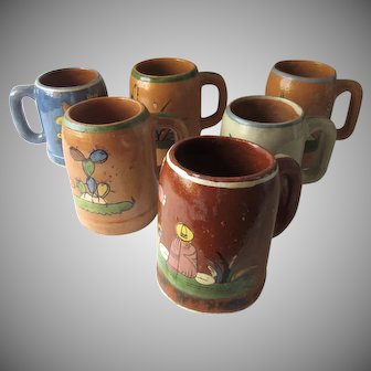 Group of 6 Vintage Mexican Pottery Mugs Tankards Folk Art