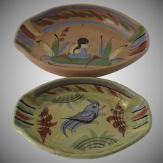 Set of Two Vintage Mexican pottery Oval Bowls