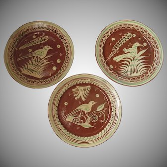 Bandera Redware Mexican Pottery Large Plates Set of Three with Bird