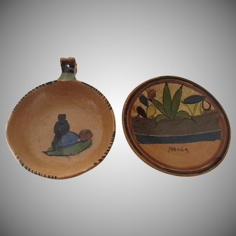 Two Vintage Mexican Pottery Companion Dishes Folk Art
