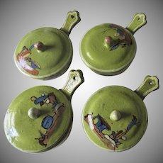 Vintage Set of Four Tlaquepaque Tonala Mexican Art Pottery Lidded Small Pots with Handle Green Glaze
