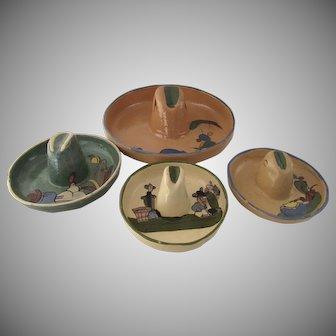 Vintage 1940s Mexican Tlaquepaque Pottery Folk Art Set of Four Sombreros Hats.