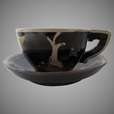 Vintage 1940's Mexican Tlaquepaque Black Glazed Pottery Cup & Saucer