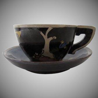 Vintage 1940's Mexican Tlaquepaque Black Glazed Pottery Cup & Saucer
