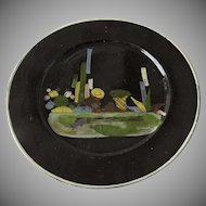 Vintage Mexican Black Glazed Tlaquepaque Pottery Plate