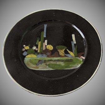 Vintage Mexican Black Glazed Tlaquepaque Pottery Plate