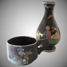 Vintage 1930's Tlaquepaque Black Decorated Vase and Cap