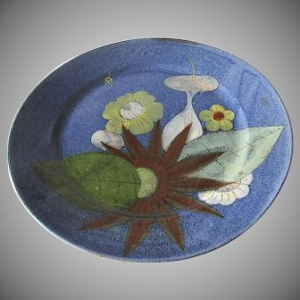 1910's Mexican Pottery Large Plate with Deep Rich Glaze Flowers
