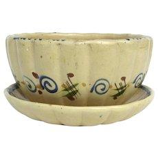 Vintage Tlaquepaque Mexican Pottery Salad Bowl with Under Plate Melon Shape Folk Art