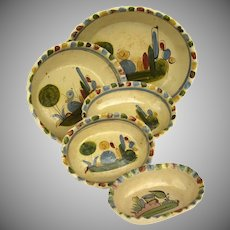 Vintage Mexican Tlaquepaque Colorful Hand Painted Set Nesting of Five Oval Serving Bowls Pinch Edge