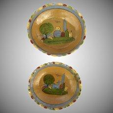Vintage Mexican Pottery Set of Two Saffron Color Bowls Pinch Edge