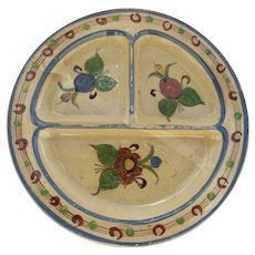 Vintage Mexican Pottery Divided Sectioned Large Plate