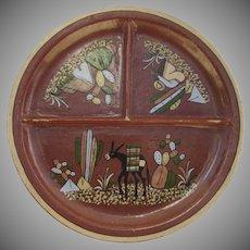 """Vintage Large 11 1/2"""" Mexican Divided Sectioned Plate Burro Cactus Sombrero Folk Art"""